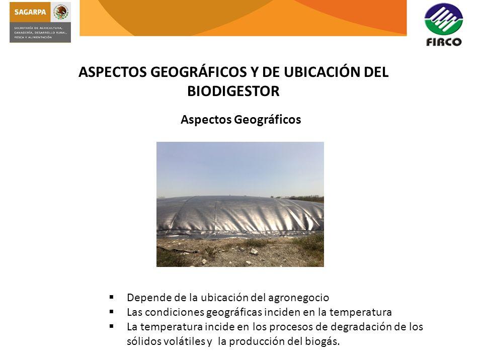 ASPECTOS GEOGRÁFICOS Y DE UBICACIÓN DEL BIODIGESTOR Aspectos Geográficos Depende de la ubicación del agronegocio Las condiciones geográficas inciden e
