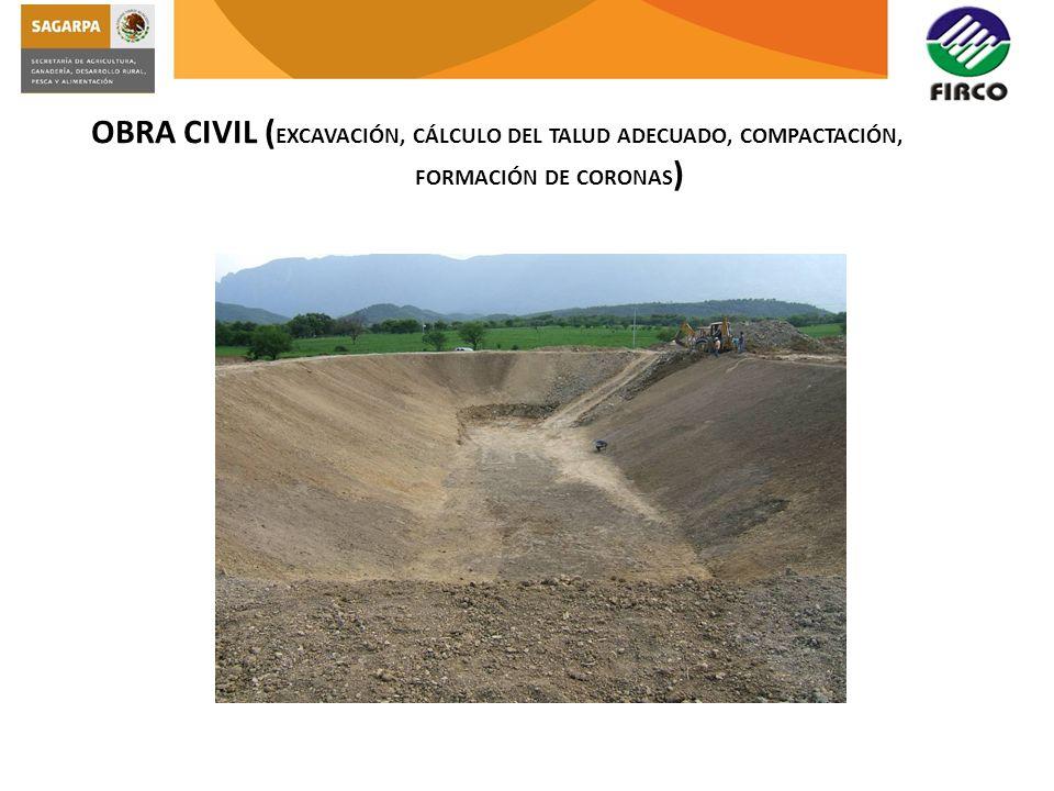 OBRA CIVIL ( EXCAVACIÓN, CÁLCULO DEL TALUD ADECUADO, COMPACTACIÓN, FORMACIÓN DE CORONAS )