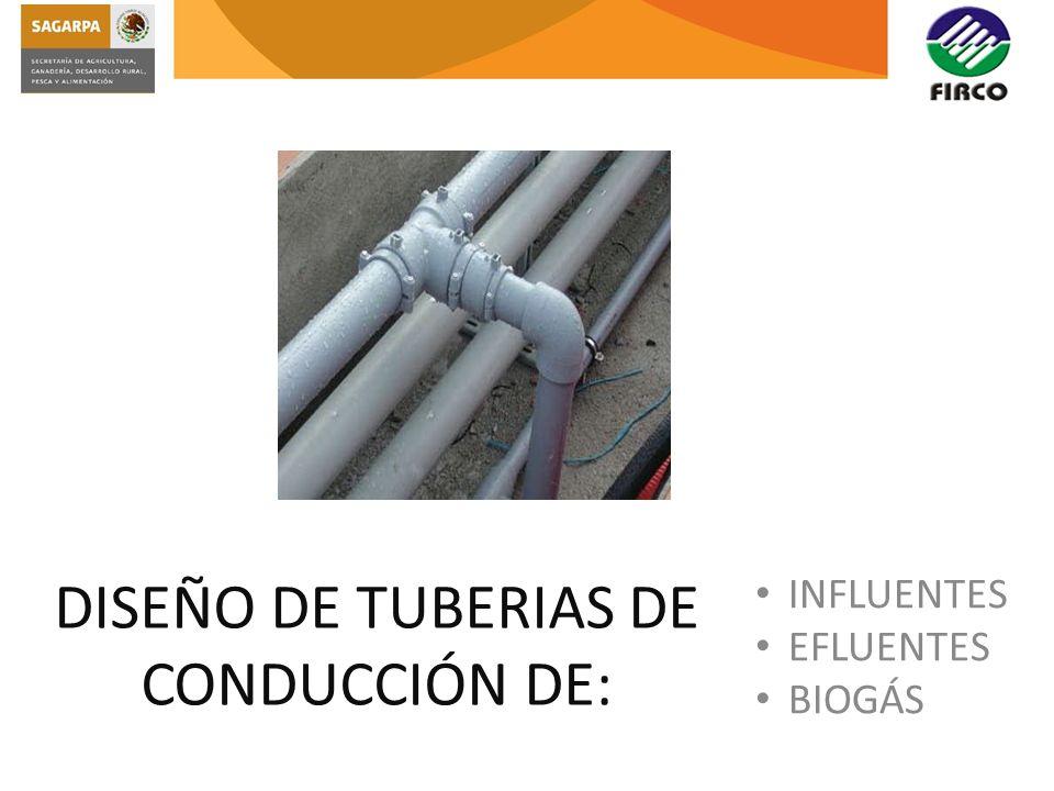 DISEÑO DE TUBERIAS DE CONDUCCIÓN DE: INFLUENTES EFLUENTES BIOGÁS