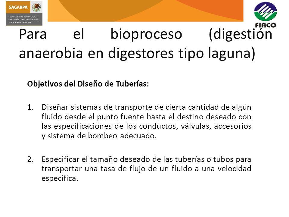 Para el bioproceso (digestión anaerobia en digestores tipo laguna) Objetivos del Diseño de Tuberías: 1.Diseñar sistemas de transporte de cierta cantid