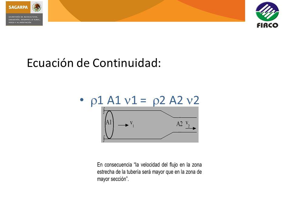 Ecuación de Continuidad: 1 A1 1 = 2 A2 2