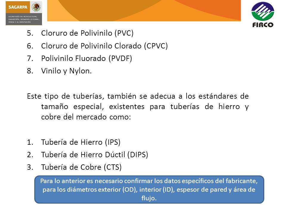 5.Cloruro de Polivinilo (PVC) 6.Cloruro de Polivinilo Clorado (CPVC) 7.Polivinilo Fluorado (PVDF) 8.Vinilo y Nylon. Este tipo de tuberías, también se