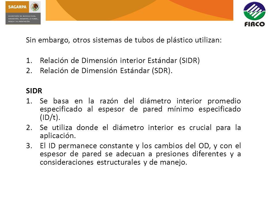 Sin embargo, otros sistemas de tubos de plástico utilizan: 1.Relación de Dimensión interior Estándar (SIDR) 2.Relación de Dimensión Estándar (SDR). SI