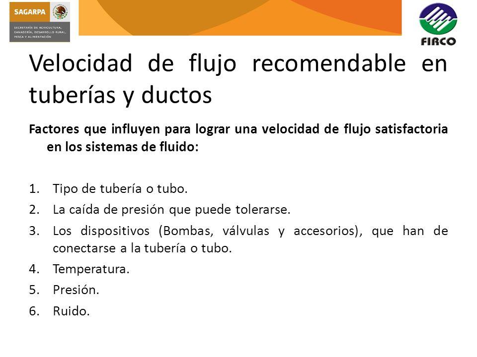 Velocidad de flujo recomendable en tuberías y ductos Factores que influyen para lograr una velocidad de flujo satisfactoria en los sistemas de fluido: