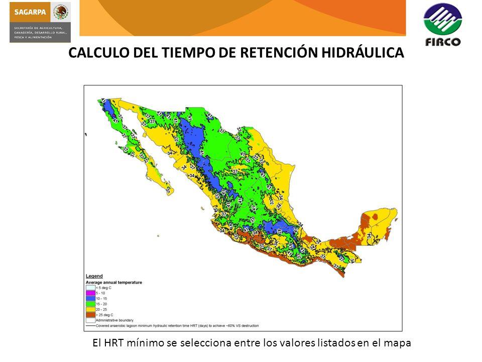 CALCULO DEL TIEMPO DE RETENCIÓN HIDRÁULICA El HRT mínimo se selecciona entre los valores listados en el mapa