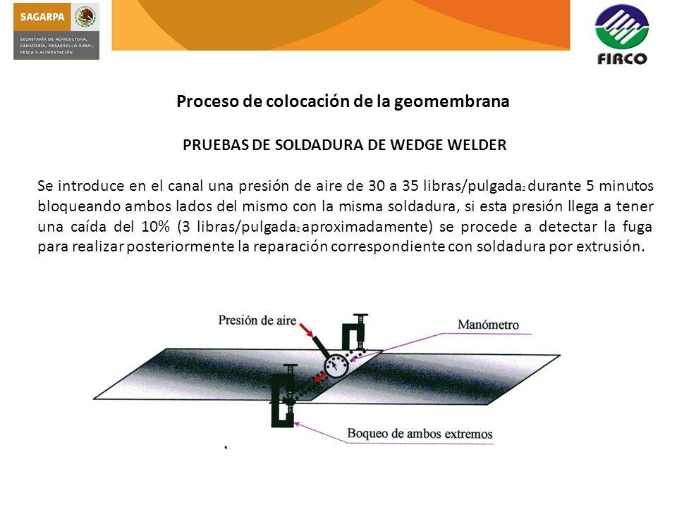 PRUEBAS DE SOLDADURA DE WEDGE WELDER Se introduce en el canal una presión de aire de 30 a 35 libras/pulgada 2 durante 5 minutos bloqueando ambos lados