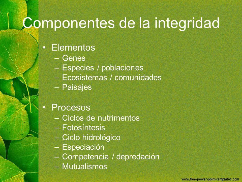 Componentes de la integridad Elementos –Genes –Especies / poblaciones –Ecosistemas / comunidades –Paisajes Procesos –Ciclos de nutrimentos –Fotosíntes
