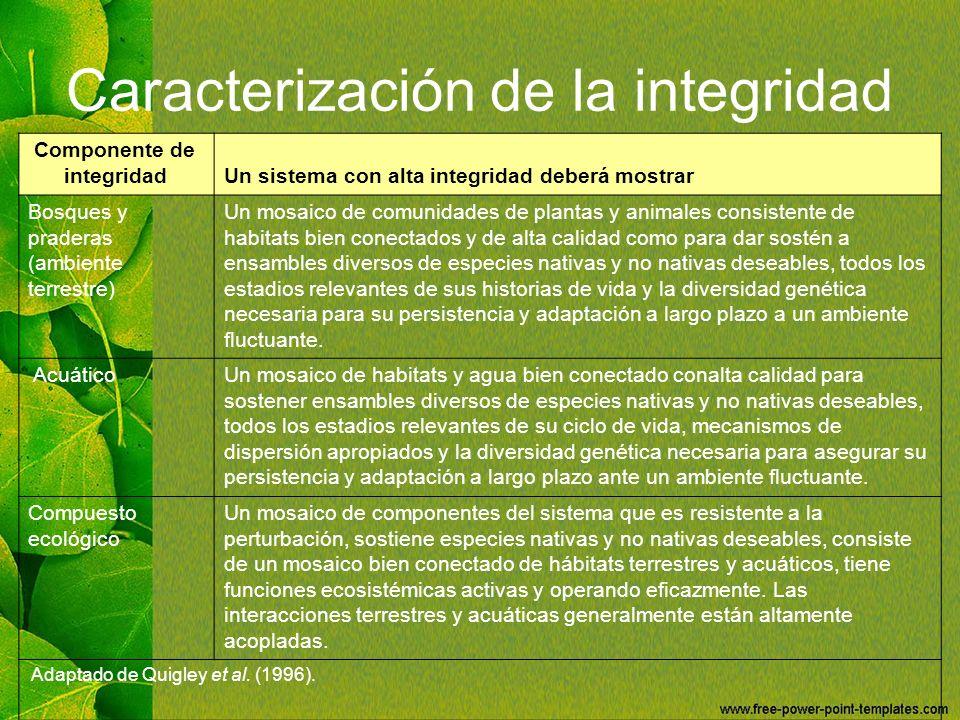 Caracterización de la integridad Componente de integridadUn sistema con alta integridad deberá mostrar Bosques y praderas (ambiente terrestre) Un mosa