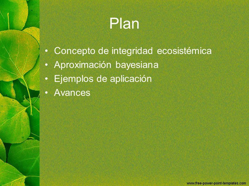 Plan Concepto de integridad ecosistémica Aproximación bayesiana Ejemplos de aplicación Avances