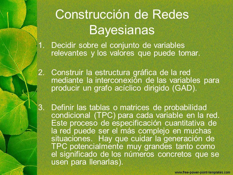 Construcción de Redes Bayesianas 1.Decidir sobre el conjunto de variables relevantes y los valores que puede tomar. 2.Construir la estructura gráfica