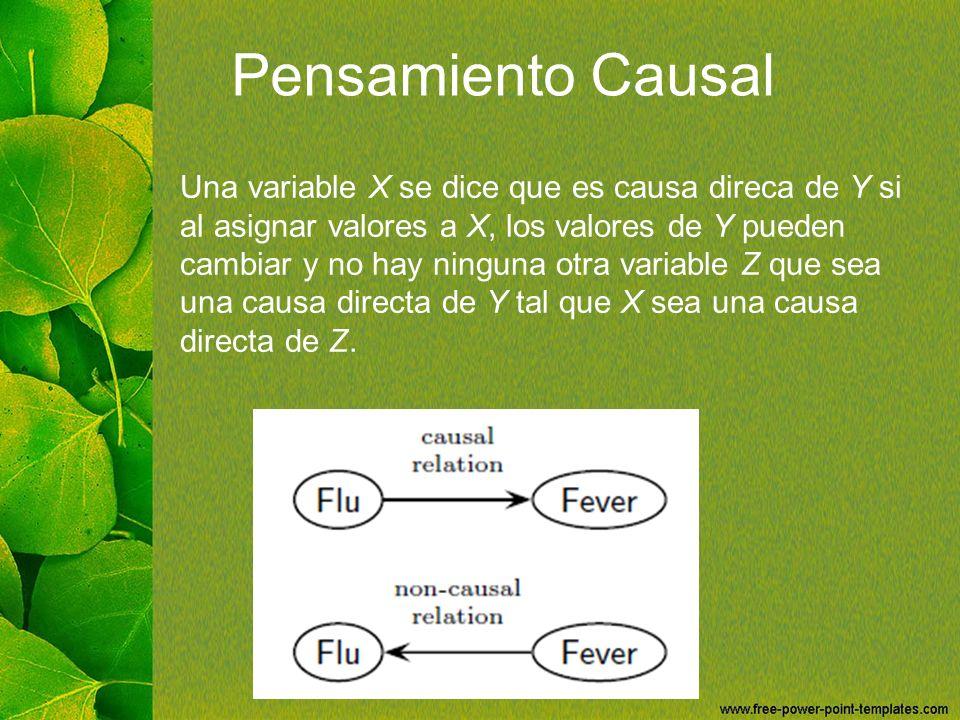 Pensamiento Causal Una variable X se dice que es causa direca de Y si al asignar valores a X, los valores de Y pueden cambiar y no hay ninguna otra va