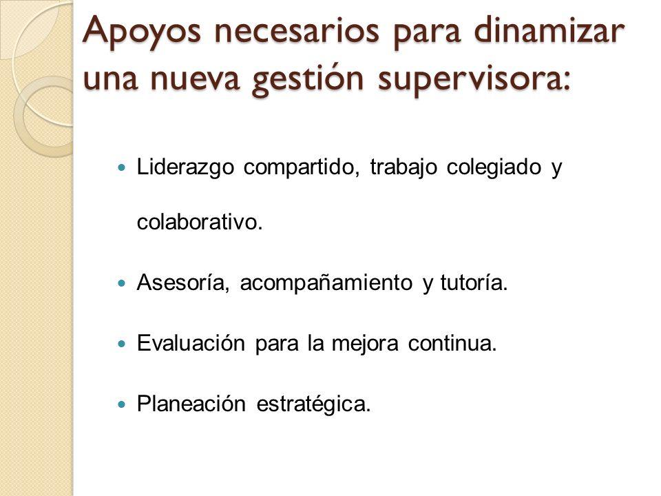 Apoyos necesarios para dinamizar una nueva gestión supervisora: Liderazgo compartido, trabajo colegiado y colaborativo. Asesoría, acompañamiento y tut