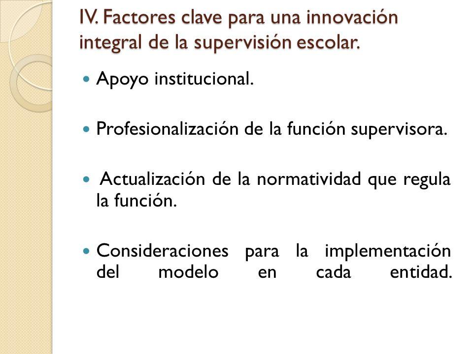 IV. Factores clave para una innovación integral de la supervisión escolar. Apoyo institucional. Profesionalización de la función supervisora. Actualiz