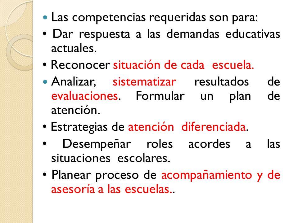Las competencias requeridas son para: Dar respuesta a las demandas educativas actuales. Reconocer situación de cada escuela. Analizar, sistematizar re