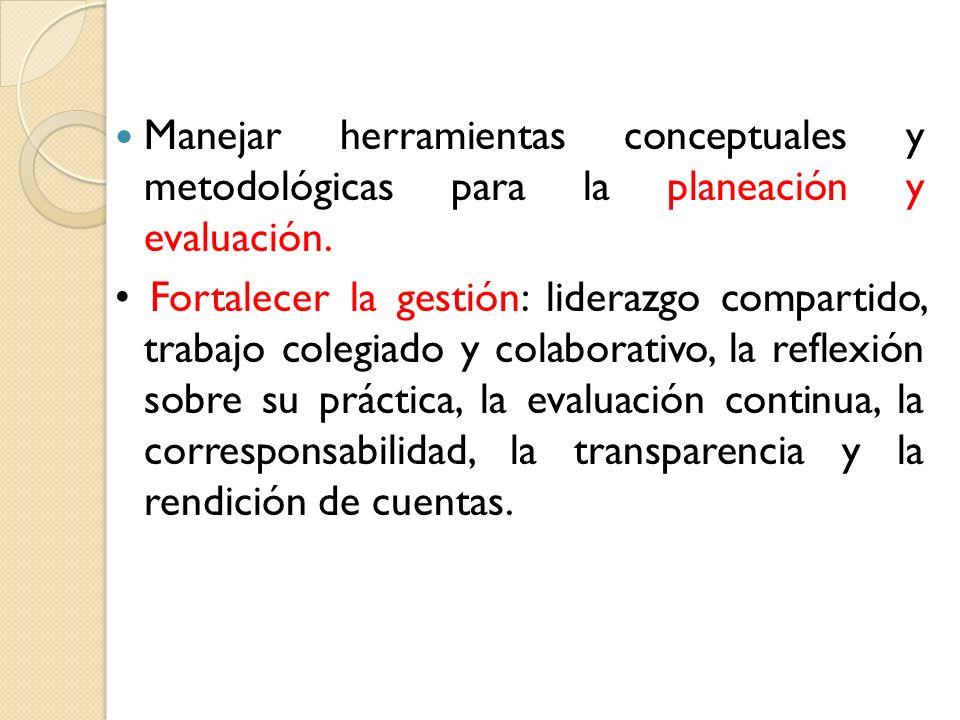 Manejar herramientas conceptuales y metodológicas para la planeación y evaluación. Fortalecer la gestión: liderazgo compartido, trabajo colegiado y co