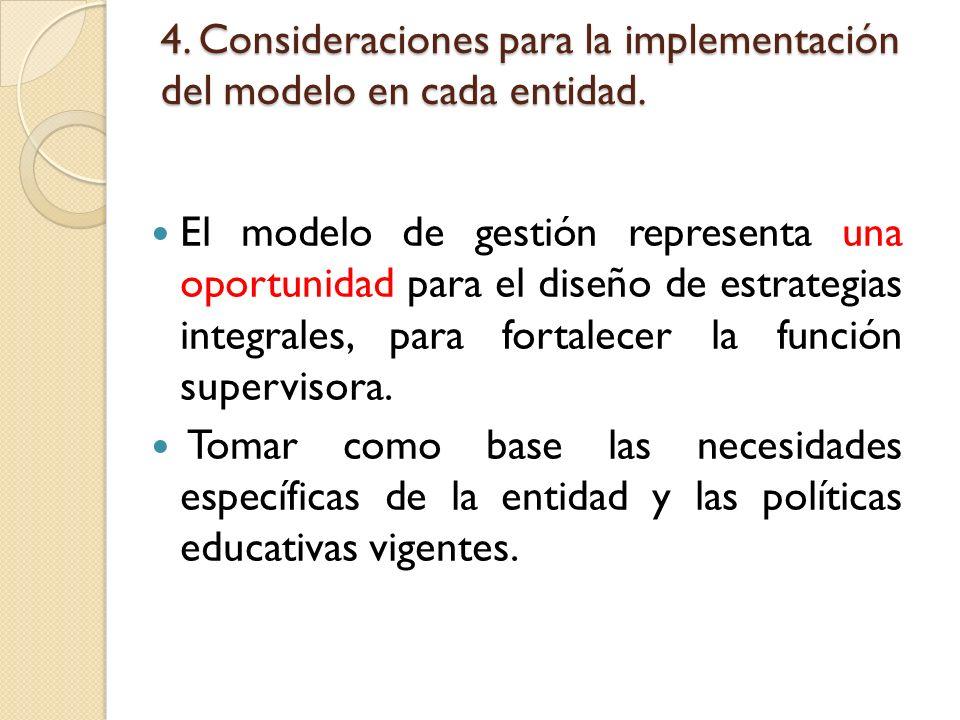 4. Consideraciones para la implementación del modelo en cada entidad. El modelo de gestión representa una oportunidad para el diseño de estrategias in