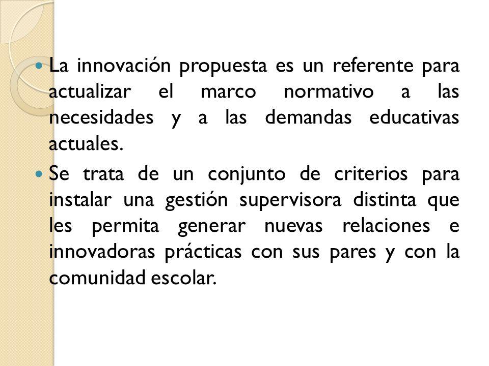 La innovación propuesta es un referente para actualizar el marco normativo a las necesidades y a las demandas educativas actuales. Se trata de un conj