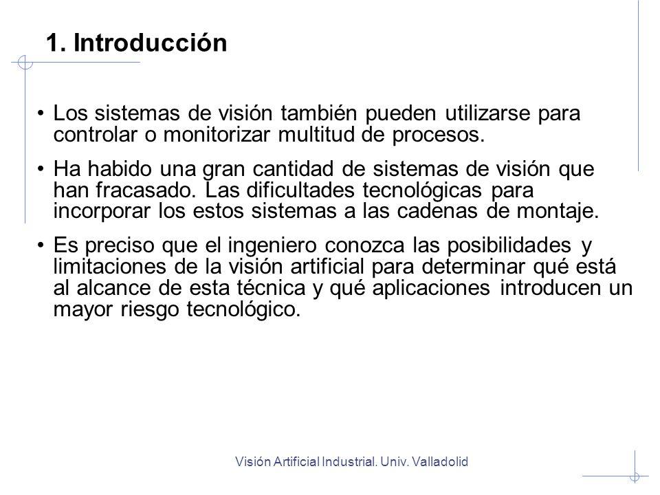 Visión Artificial Industrial. Univ. Valladolid 1. Introducción Los sistemas de visión también pueden utilizarse para controlar o monitorizar multitud
