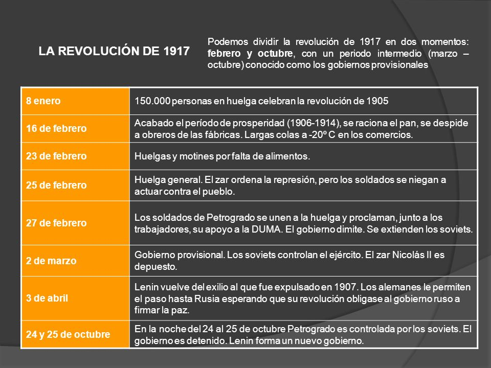 LA REVOLUCIÓN DE 1917 Podemos dividir la revolución de 1917 en dos momentos: febrero y octubre, con un periodo intermedio (marzo – octubre) conocido c