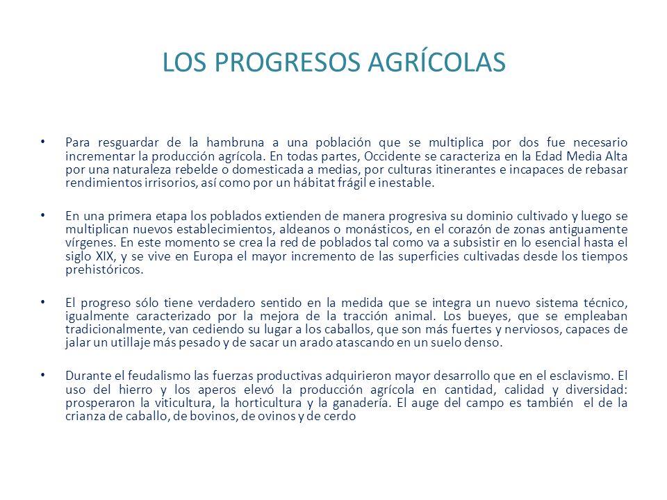 LOS PROGRESOS AGRÍCOLAS Para resguardar de la hambruna a una población que se multiplica por dos fue necesario incrementar la producción agrícola. En