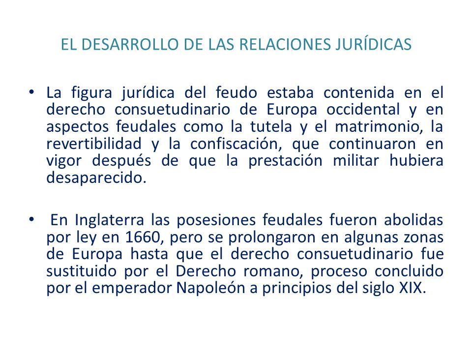 EL DESARROLLO DE LAS RELACIONES JURÍDICAS La figura jurídica del feudo estaba contenida en el derecho consuetudinario de Europa occidental y en aspect