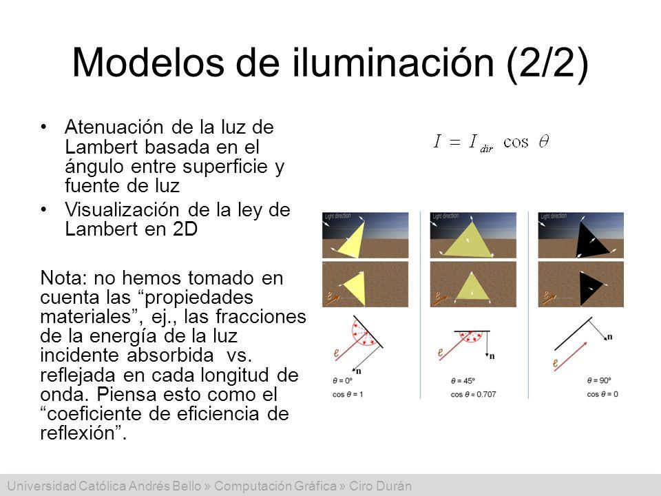 Universidad Católica Andrés Bello » Computación Gráfica » Ciro Durán Modelos de iluminación (2/2) Atenuación de la luz de Lambert basada en el ángulo