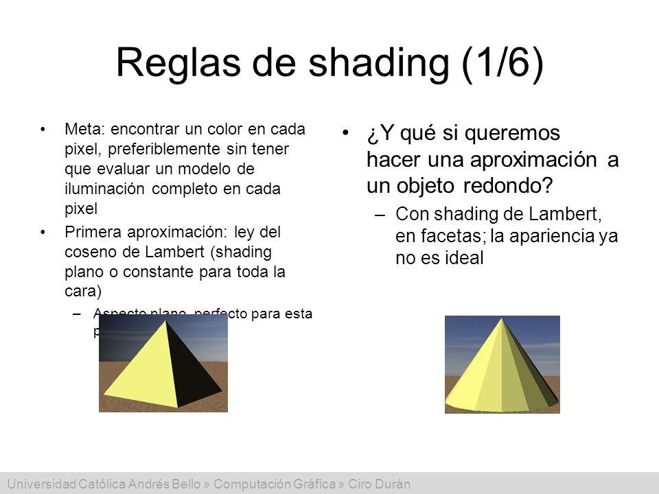 Universidad Católica Andrés Bello » Computación Gráfica » Ciro Durán Reglas de shading (1/6) Meta: encontrar un color en cada pixel, preferiblemente s