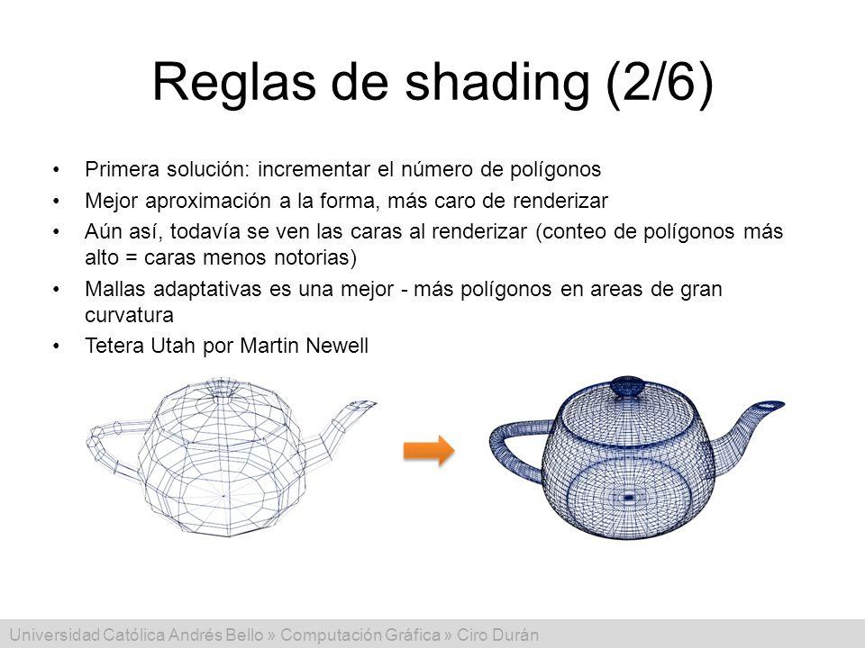 Universidad Católica Andrés Bello » Computación Gráfica » Ciro Durán Reglas de shading (2/6) Primera solución: incrementar el número de polígonos Mejo