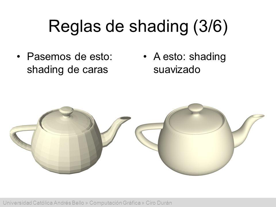 Universidad Católica Andrés Bello » Computación Gráfica » Ciro Durán Reglas de shading (3/6) Pasemos de esto: shading de caras A esto: shading suaviza