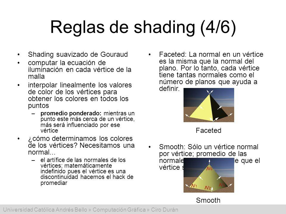 Universidad Católica Andrés Bello » Computación Gráfica » Ciro Durán Reglas de shading (4/6) Shading suavizado de Gouraud computar la ecuación de ilum
