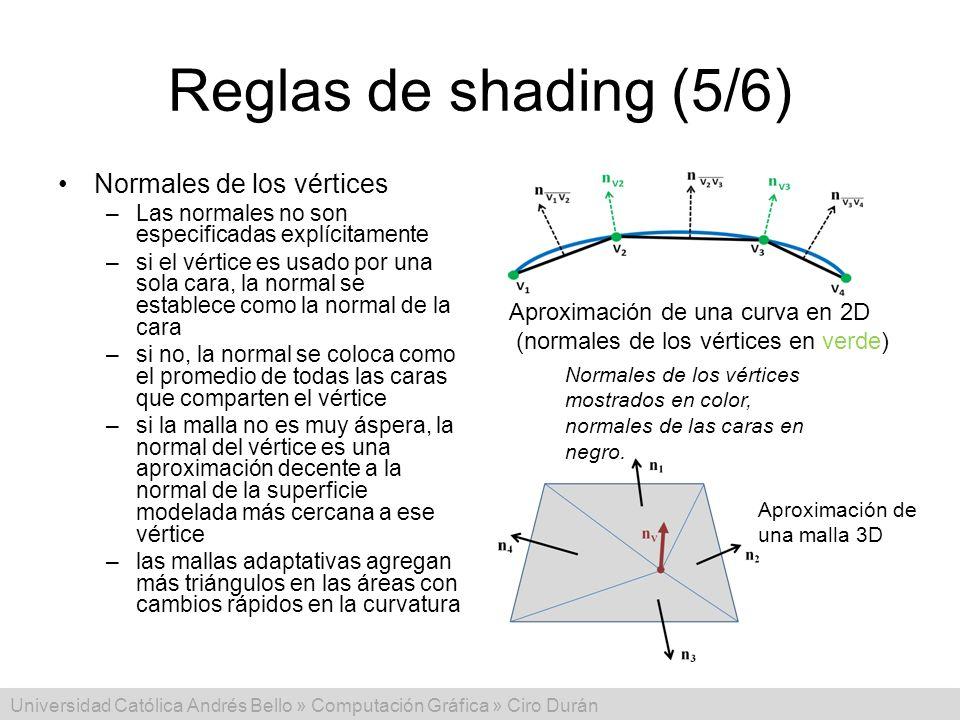 Universidad Católica Andrés Bello » Computación Gráfica » Ciro Durán Reglas de shading (5/6) Normales de los vértices –Las normales no son especificad