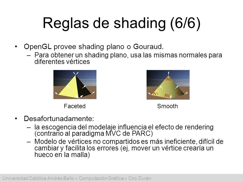 Universidad Católica Andrés Bello » Computación Gráfica » Ciro Durán Reglas de shading (6/6) OpenGL provee shading plano o Gouraud. –Para obtener un s