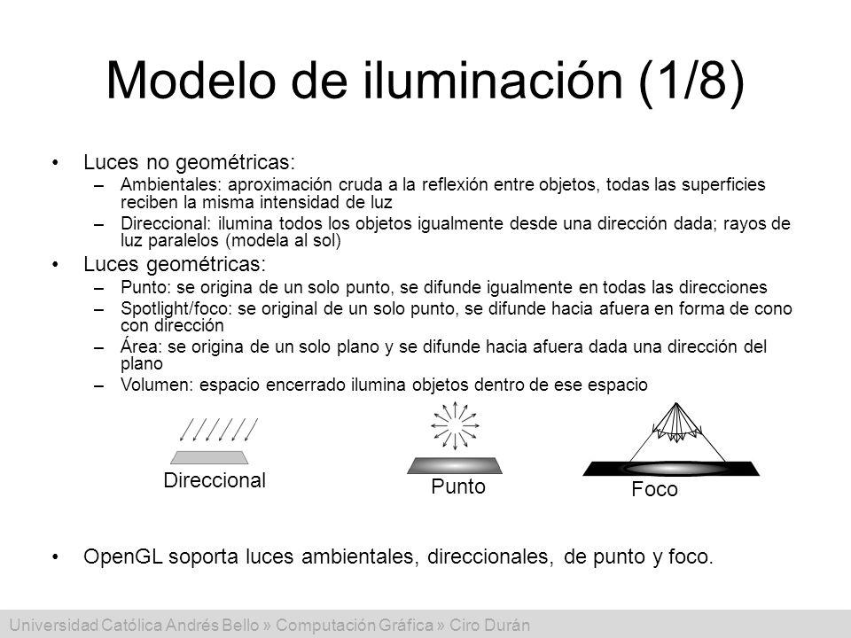 Universidad Católica Andrés Bello » Computación Gráfica » Ciro Durán Modelo de iluminación (1/8) Luces no geométricas: –Ambientales: aproximación crud