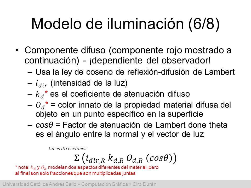 Universidad Católica Andrés Bello » Computación Gráfica » Ciro Durán Modelo de iluminación (6/8)