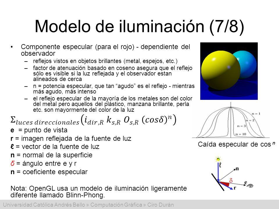 Universidad Católica Andrés Bello » Computación Gráfica » Ciro Durán Modelo de iluminación (7/8) Caída especular de cos n