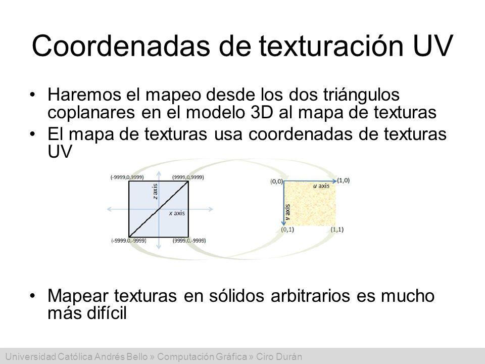 Universidad Católica Andrés Bello » Computación Gráfica » Ciro Durán Coordenadas de texturación UV Haremos el mapeo desde los dos triángulos coplanare