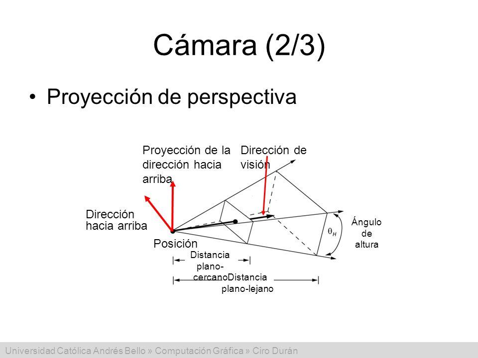 Universidad Católica Andrés Bello » Computación Gráfica » Ciro Durán Cámara (2/3) Proyección de perspectiva Posición Proyección de la dirección hacia