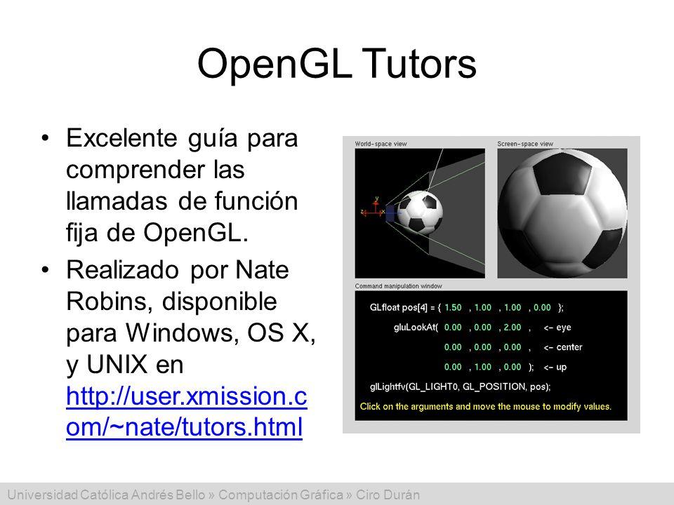 Universidad Católica Andrés Bello » Computación Gráfica » Ciro Durán OpenGL Tutors Excelente guía para comprender las llamadas de función fija de Open