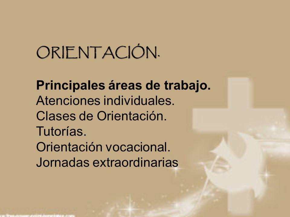 ORIENTACIÓN. ORIENTACIÓN. Principales áreas de trabajo. Atenciones individuales. Clases de Orientación. Tutorías. Orientación vocacional. Jornadas ext
