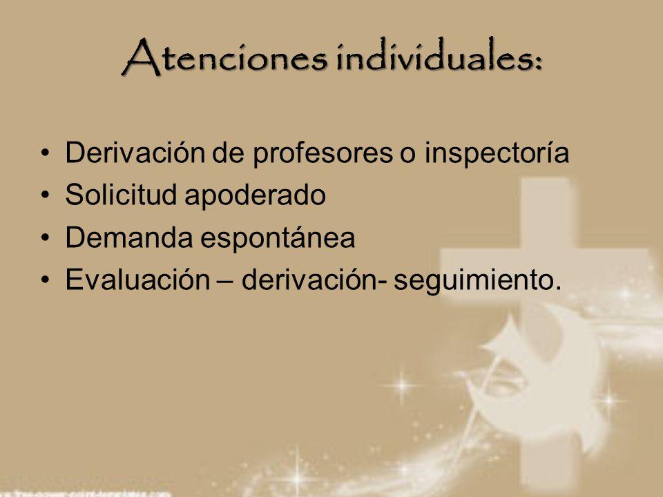Atenciones individuales: Derivación de profesores o inspectoría Solicitud apoderado Demanda espontánea Evaluación – derivación- seguimiento.