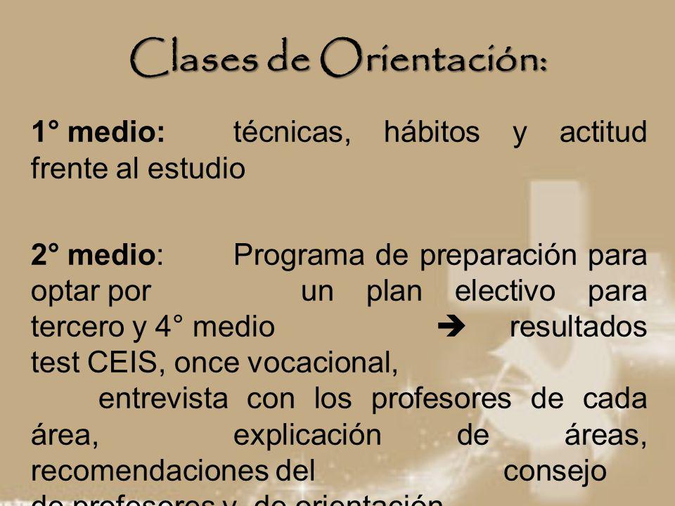 Clases de Orientación: 1° medio: técnicas, hábitos y actitud frente al estudio 2° medio: Programa de preparación para optar por un plan electivo para