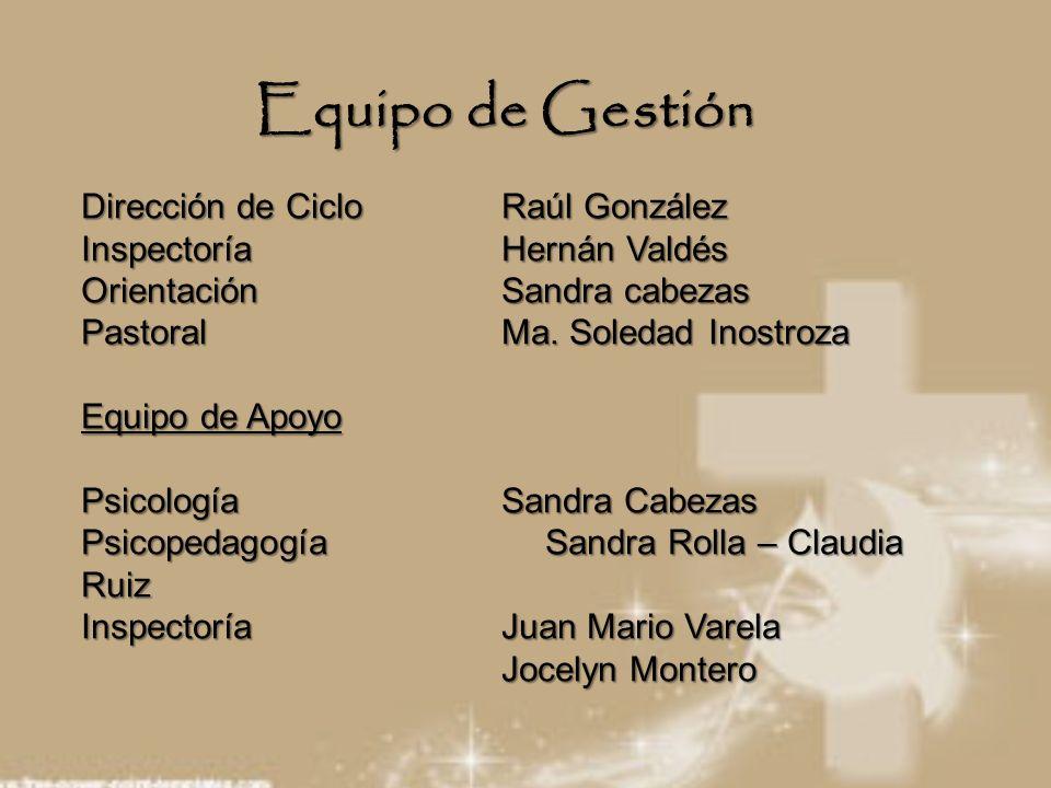 Equipo de Gestión Dirección de CicloRaúl González Inspectoría Hernán Valdés OrientaciónSandra cabezas Pastoral Ma. Soledad Inostroza Equipo de Apoyo P