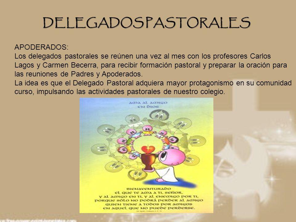 DELEGADOS PASTORALES APODERADOS: Los delegados pastorales se reúnen una vez al mes con los profesores Carlos Lagos y Carmen Becerra, para recibir form