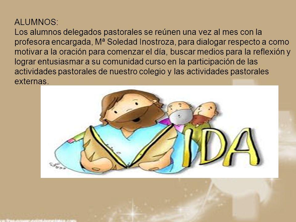 ALUMNOS: Los alumnos delegados pastorales se reúnen una vez al mes con la profesora encargada, Mª Soledad Inostroza, para dialogar respecto a como mot