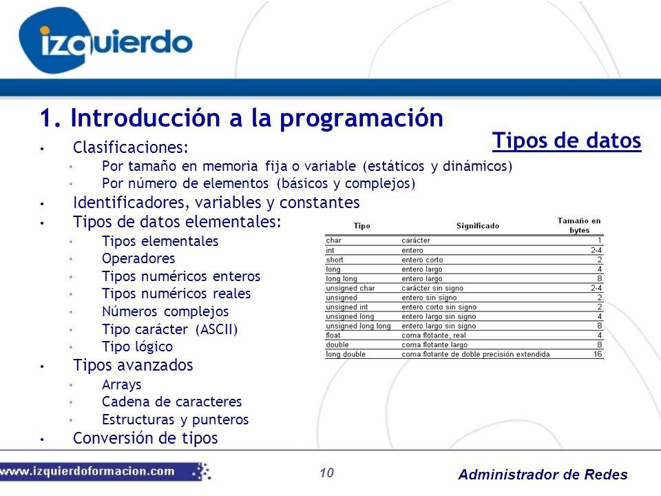 Administrador de Redes 10 Clasificaciones: Por tamaño en memoria fija o variable (estáticos y dinámicos) Por número de elementos (básicos y complejos)