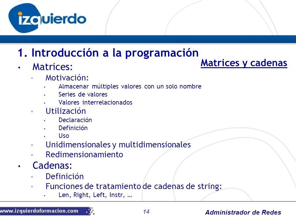 Administrador de Redes 14 1. Introducción a la programación Matrices: Motivación: Almacenar múltiples valores con un solo nombre Series de valores Val