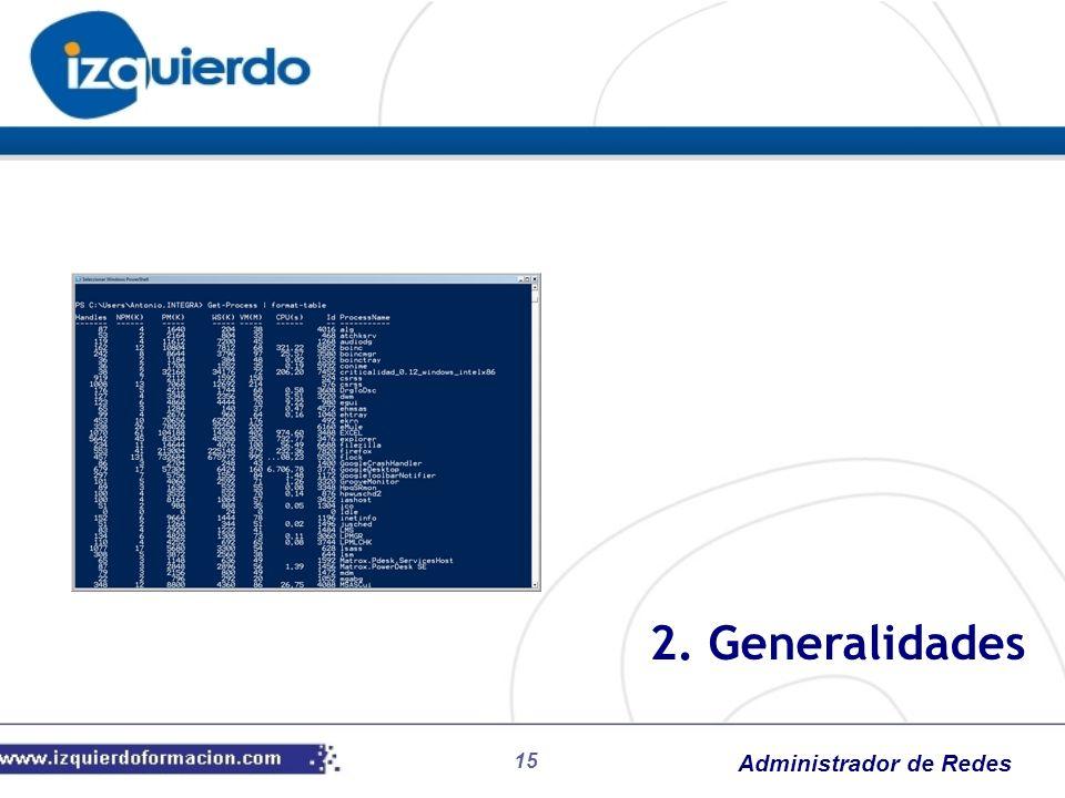 Administrador de Redes 15 2. Generalidades