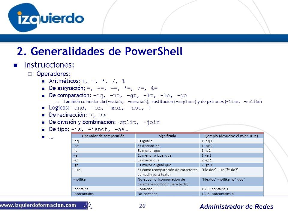 Administrador de Redes 20 Instrucciones: Operadores: Aritméticos: +, -, *, /, % De asignación; =, +=, -=, *=, /=, %= De comparación: -eq, -ne, -gt, -l