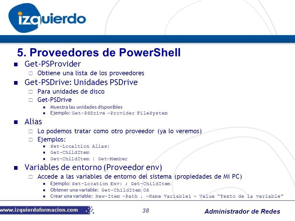 Administrador de Redes 38 Get-PSProvider Obtiene una lista de los proveedores Get-PSDrive: Unidades PSDrive Para unidades de disco Get-PSDrive Muestra