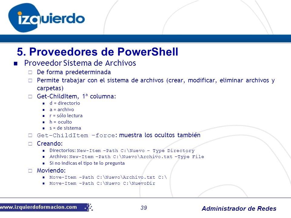 Administrador de Redes 39 Proveedor Sistema de Archivos De forma predeterminada Permite trabajar con el sistema de archivos (crear, modificar, elimina